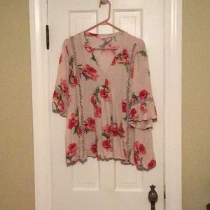 Light pink top with flowers